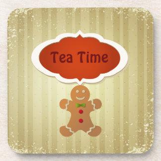 Tea Time Christmas Gingerbread Man Drink Coasters