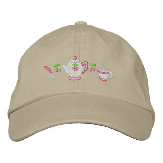 Tea Time Embroidered Baseball Caps