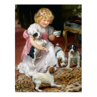 Tea Time for Fox Terrier Puppies Vintage Dog Art Post Cards
