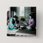 Tea Time for Two in Old Japan Vintage Geisha 15 Cm Square Badge