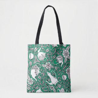 Tea Time Green Tote Bag