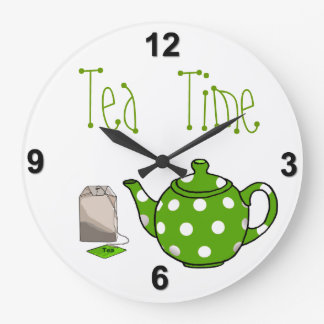 Tea Time Green & White Kitchen Large Clock
