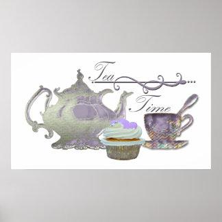 Tea Time Lilac Cupcake, Teapot & Teacup Art Poster