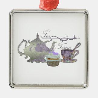 Tea Time! Lilac Teapot, Teacup and Cupcake Art Christmas Ornament