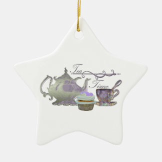 Tea Time! Lilac Teapot, Teacup and Cupcake Art Christmas Ornament