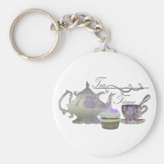 Tea Time! Lilac Teapot, Teacup and Cupcake Art Key Ring