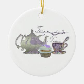 Tea Time! Lilac Teapot, Teacup and Cupcake Art Round Ceramic Decoration