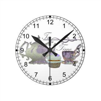 Tea Time! Lilac Teapot, Teacup and Cupcake Art Round Clock