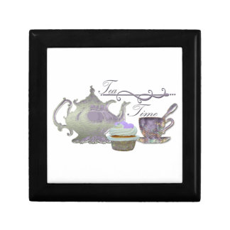 Tea Time! Lilac Teapot, Teacup and Cupcake Art Small Square Gift Box