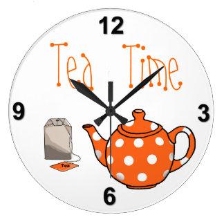 Tea Time Orange & White Kitchen Large Clock