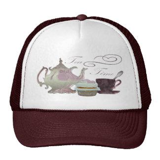 Tea Time Pink Cupcake Hearts Art Cap