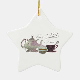 Tea Time Pink Cupcake Hearts Art Ceramic Star Decoration