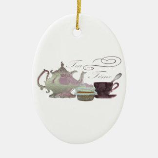 Tea Time Pink Cupcake Hearts Art Christmas Ornament