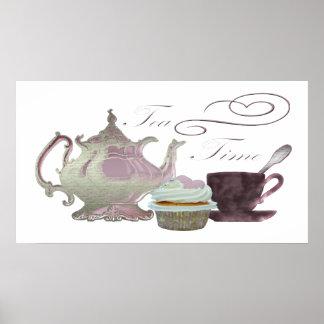 Tea Time Pink Cupcake Hearts Art Poster