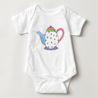 Tea Time Polka Dot Teapot Tea Party Teaparty Baby Bodysuit