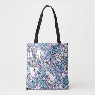 Tea Time Purple Tote Bag