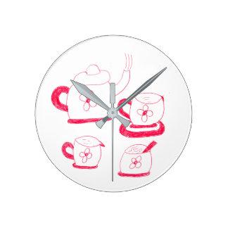 Tea Time Round Wall Clock