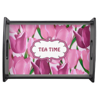 Tea Time. Spring Tulip Design Gift Serving Tray