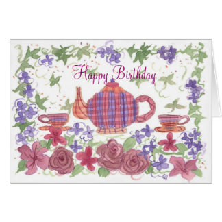 Tea Time Teapot and Flowers Birthday Card