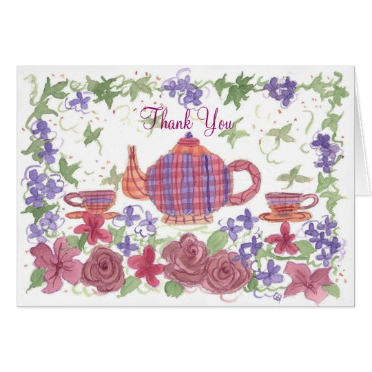 Tea Time Teapot and Flowers Thank You Card