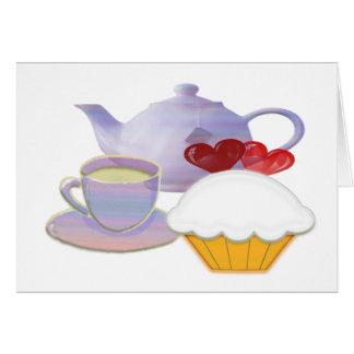 Tea time with cupcake hearts card