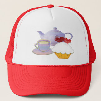 Tea time with cupcake hearts trucker hat