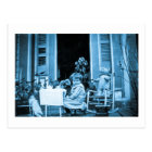 Tea Time with Friends (Blue Toned) Postcard