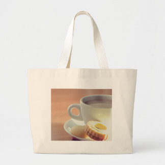 Tea with biscuit large tote bag