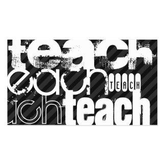 Teach; Black & Dark Grey Stripes Pack Of Standard Business Cards
