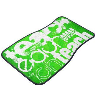 Teach; Neon Green Stripes Floor Mat