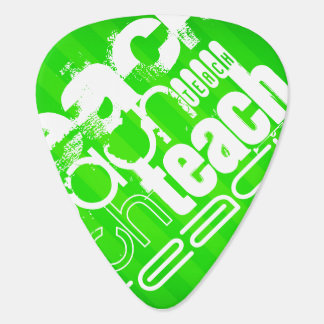 Teach; Neon Green Stripes Guitar Pick
