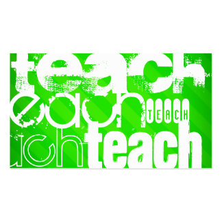 Teach; Neon Green Stripes Pack Of Standard Business Cards