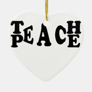 Teach Peace Ceramic Heart Decoration