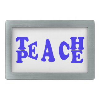 Teach Peace In Blue Font Belt Buckle