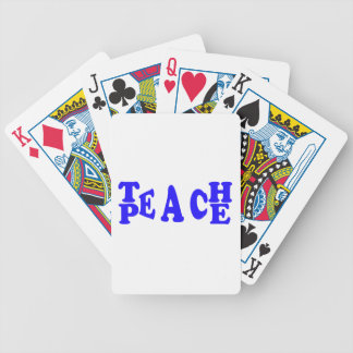 Teach Peace In Blue Font Playing Cards