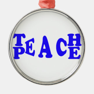 Teach Peace In Blue Font Premium Round Ornament