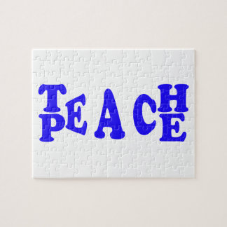 Teach Peace In Blue Font Puzzle