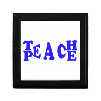 Teach Peace In Blue Font Small tile gift box