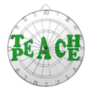 Teach Peace In Dark Green Font Dartboard