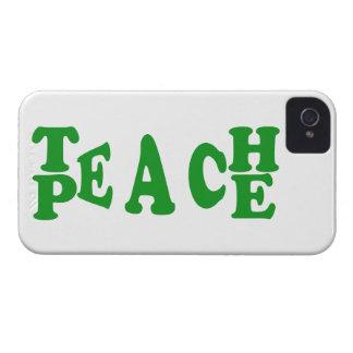 Teach Peace In Dark Green Font Iphone 4 Case