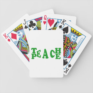 Teach Peace In Dark Green Font Playing Cards