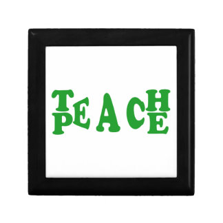 Teach Peace In Dark Green Font Small Tile Gift Box