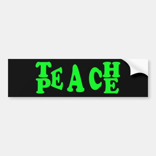 Teach Peace In Light Green Font Bumper Sticker