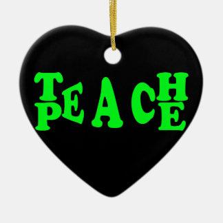 Teach Peace In Light Green Font Ceramic Heart Decoration