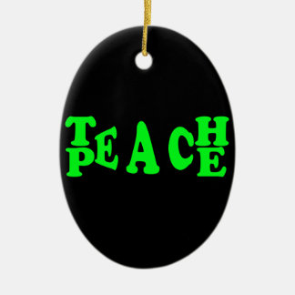 Teach Peace In Light Green Font Ceramic Oval Decoration