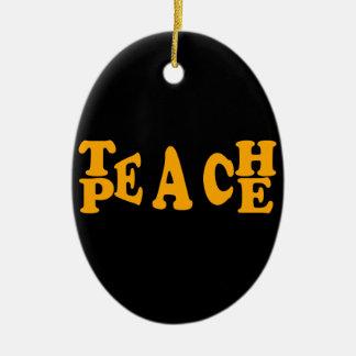 Teach Peace In Orange Font Ceramic Oval Decoration