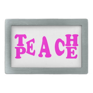 Teach Peace In Pink Font Belt Buckle