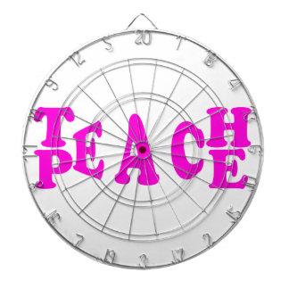 Teach Peace In Pink Font Dartboard
