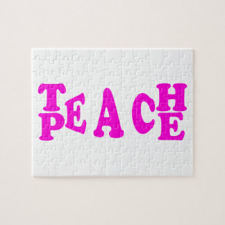 Teach Peace In Pink Font Puzzle