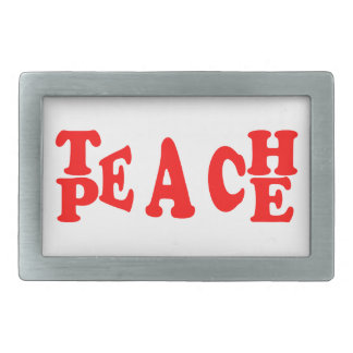 Teach Peace In Red Font Belt Buckle